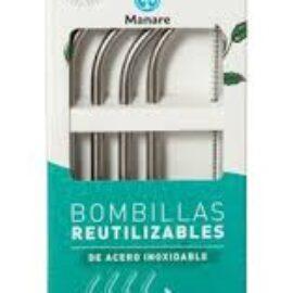 Bombillas de Acero Inox color Plata Manare    4 unidades
